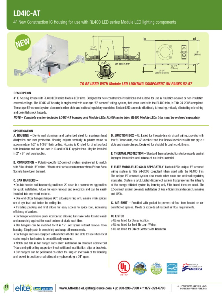 4 Recessed Housing New Construction Ic Led Lighting Fixture Thermal Protector Wiring Diagram Electrical Light Emitting Diode