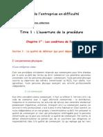 Partie 1, Titre 1, Chapitre 1, Les Conditions de Fonds