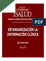 ejemplo estandarizacion informacion sanitaria