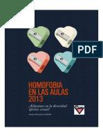 Homofobia en las aulas 2013. ¿Educamos en la diversidad afectivo sexual?