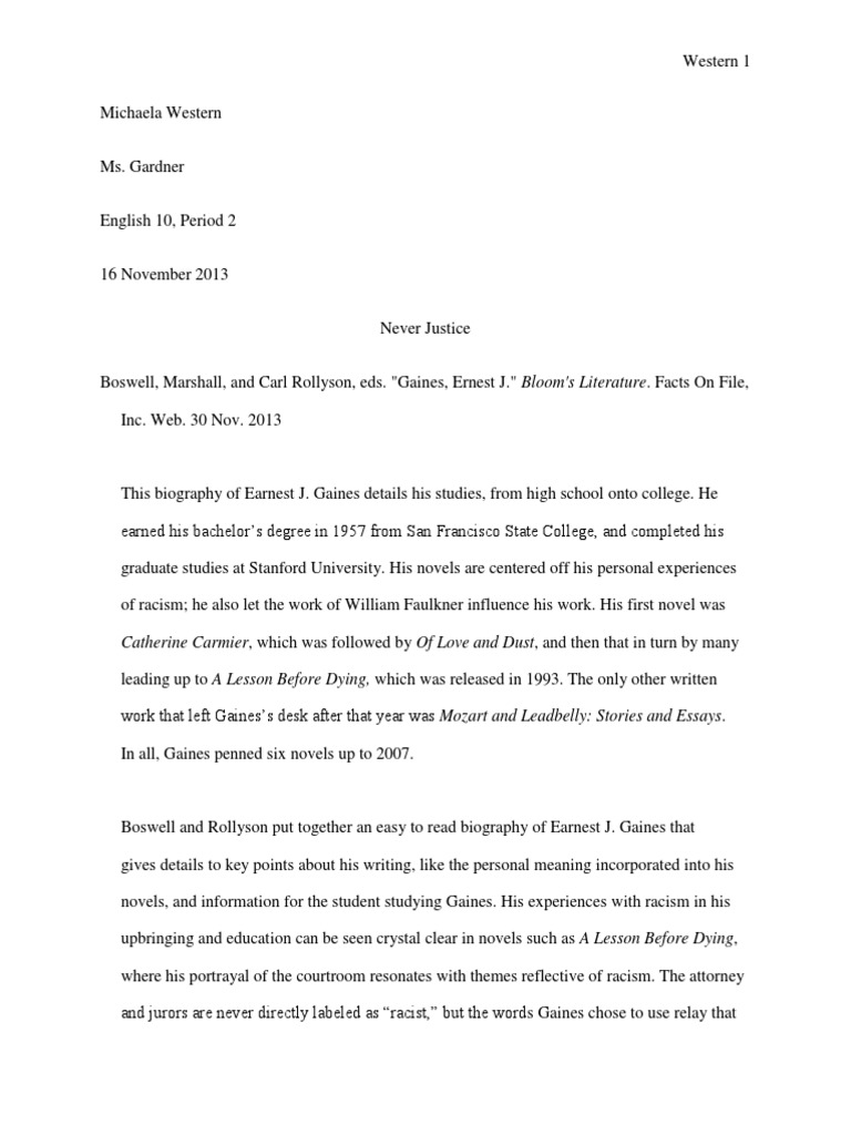 annotated bibliography for a lesson before dying novels