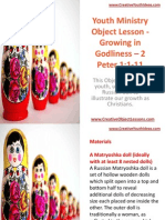 Youth Ministry Object Lesson - Growing in Godliness – 2 Peter 1-1-11