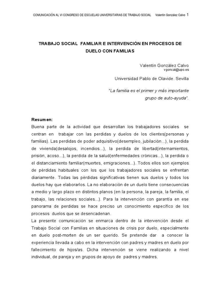Procesos de Duelo Trabajo Social Familiar E Intervencion