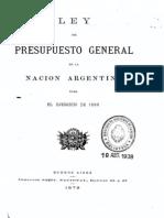 Ley del Presupuesto General de la Nación Argentina para el ejercicio de 1880.