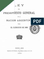Ley del Presupuesto General de la Nación Argentina para el ejercicio de 1881.