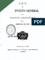 Ley del Presupuesto General de la Nación Arjentina para el ejercicio de 1870