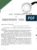 Ley General Del Presupuesto Para 1865