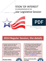 2014 LOUISIANA LEGISLATION 'OF INTEREST'  one week before session