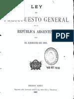 Ley del Presupuesto General de la República Argentina para el ejercicio de 1883