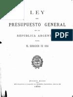 Ley del Presupuesto General de la República Argentina para el ejercicio de 1884