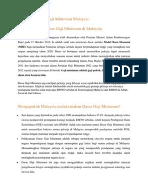 Mengenai Dasar Gaji Minimum Malaysia