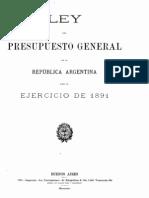 Ley del Presupuesto General de la República Argentina para el ejercicio de 1891