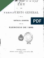 Ley del Presupuesto General de la República Argentina para el ejercicio de 1895