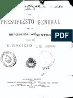 Ley del Presupuesto General de la República Argentina para el ejercicio de 1896