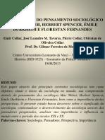 A IMPORTÂNCIA DO PENSAMENTO SOCIOLÓGICO DE MAX WEBER, HERBERT SPENCER, ÉMILE DURKHEIM E FLORESTAN FERNANDES