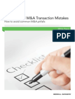 Seven Critical M&A Transaction Mistakes