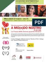 A MOnDO NOSTRO, educazione sentimentale con il documentario di Wilma Massucco -Traversetolo 12 marzo 2014