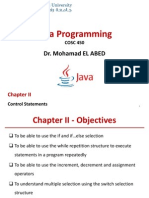 java chapter 2 ( If else while for )