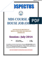 PGIMER Prospectus for MDS, House Job