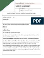 student log sheet