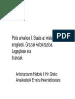 Polis Arkaikoa I Stasis-A Kolonizazioa Legegileak Eta Tiranoak 13-14