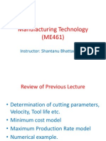 Manufacturing Technology (ME461) Lecture11