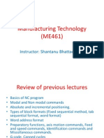 Manufacturing Technology (ME461) Lecture15