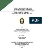ANALISIS FAKTOR-FAKTOR YANG MEMPENGARUHI STRUKTUR MODAL PERUSAHAAN PROPERTI YANG GO-PUBLIC DI BURSA EFEK JAKARTA UNTUK PERIODE TAHUN 1994 - 2004