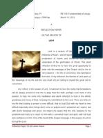 Reflection Paper - Lenten Reflection
