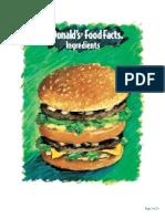 McDonald's Ingredient Facts