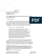 Letter to Office of Science and Technology Policy