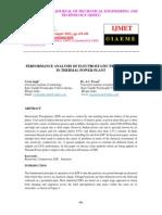Performance Analysis of Electrostatic Precipitator in Thermal Power Plant