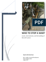 Who To Stop A War? Locals, internationals, and the building of Burundi's peace