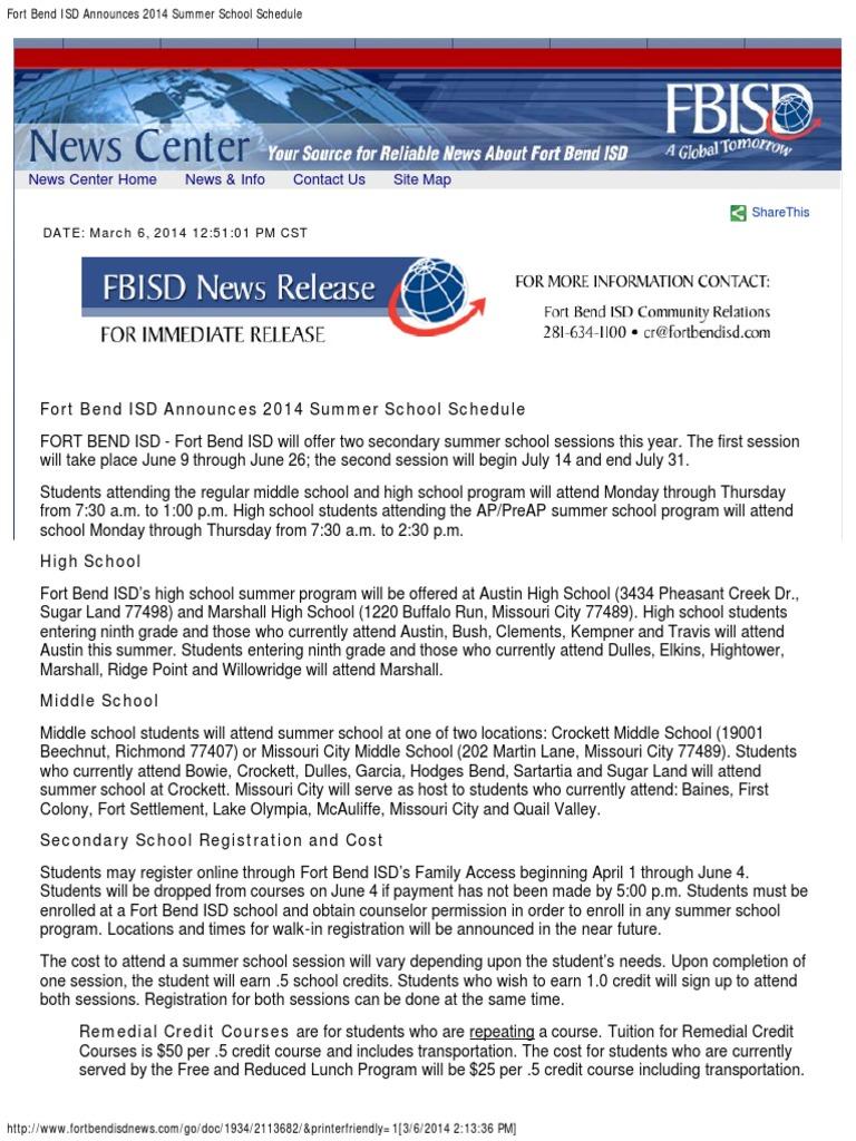 Fort Bend ISD Announces 2014 Summer School Schedule
