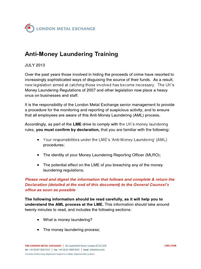 Lme Anti Money Laundering Memo Money Laundering Public Sphere