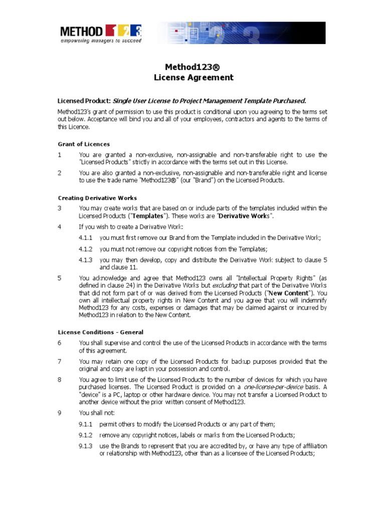 License Agreement License Derivative Work