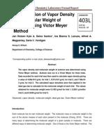 Determination of Vapor Density and Molecular Weight of Acetone using Victor Meyer Method