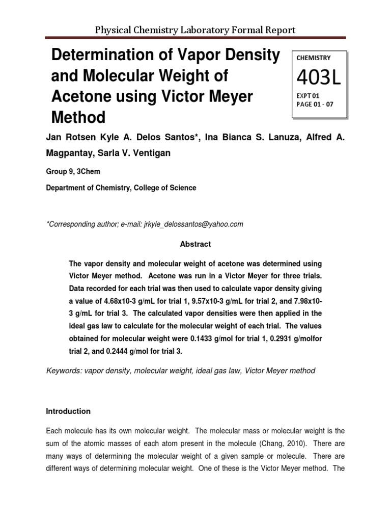 Determination of Vapor Density and Molecular Weight of