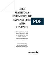 2014 Manitoba estimates of revenue and expenditure