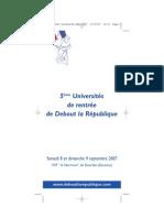 Université de rentrée de Debout la République