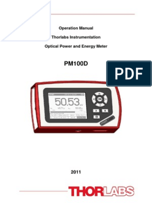 ThorLabs PM100D Manual | Optical Fiber | Electromagnetic