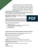 Clasificación general de la comunicación en función de los medios de transmisión