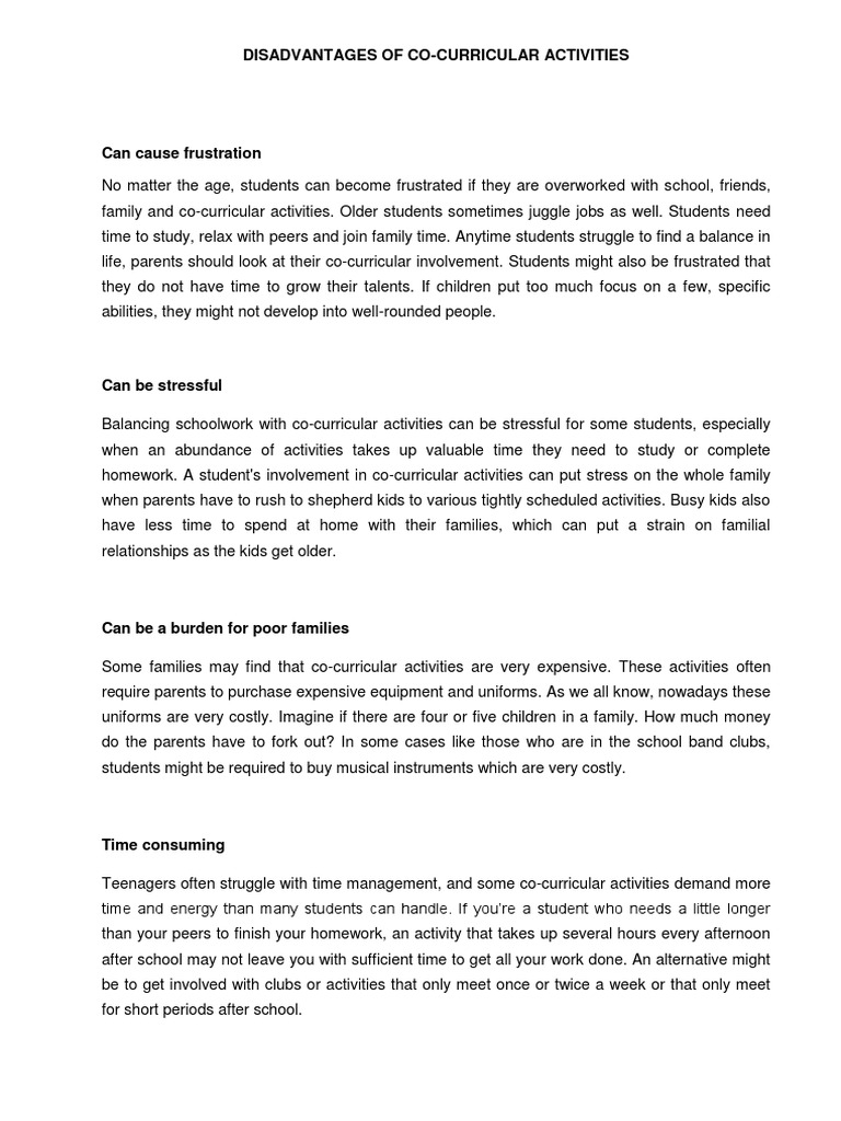 advantages of co curricular activities essays Co-curricular activities,  biology, exgtra-curricular activities] better essays 568 words (16 pages) advantages of after school activities essay.