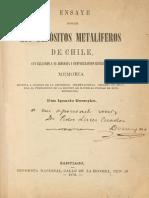 Ensaye sobre los depósitos metalíferos de Chile con relación a su jeolojía y configuración esterior. (1876)