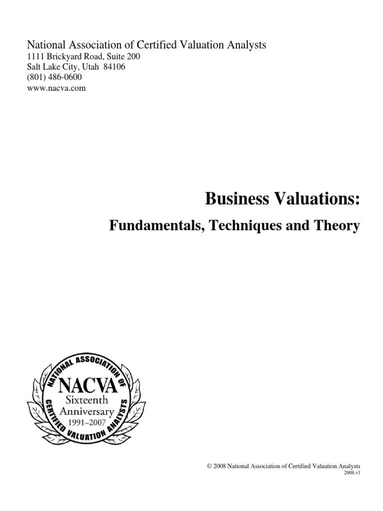 Business Valuations: Fundamentals, Techniques and Theory