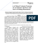 Adsorption of Mixed Cationic-Nonionic Surfactants on Polymer Surfaces and Its Relation to Wetting Phenomena ChE-005