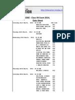 cbse Date Sheet 2014