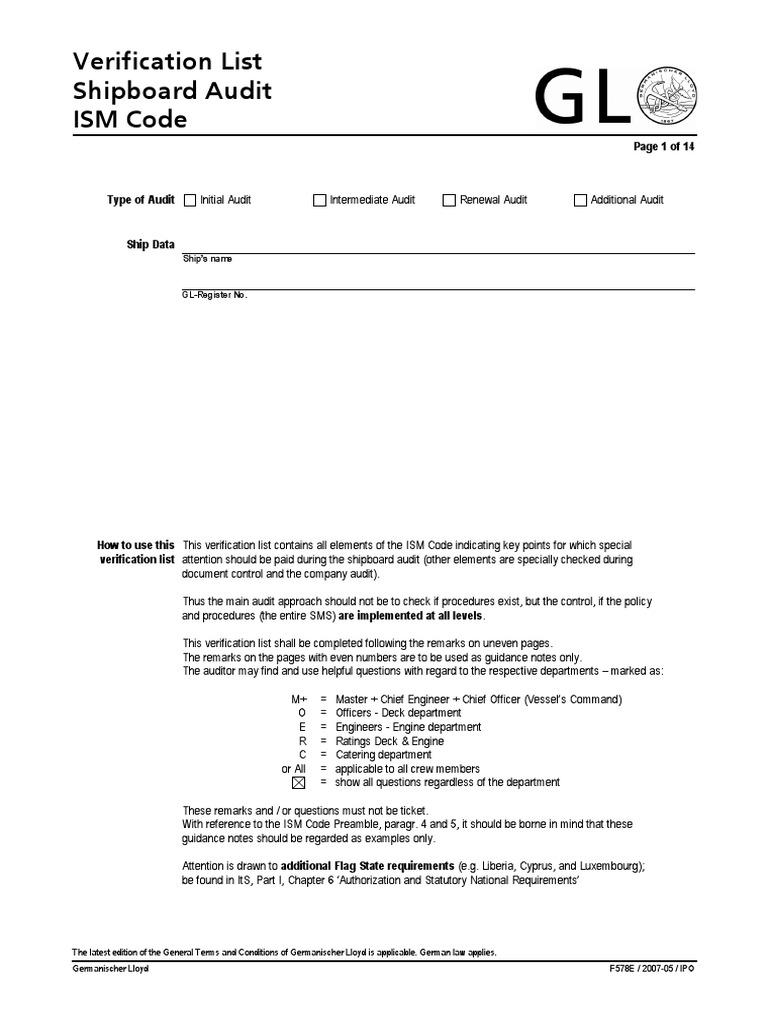 Checklist ISM Audit | Internal Audit | Verification And