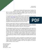 Letter of Complaint Lebanon Explosion, 10.13.09, SG