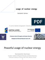 Peaceful Usage of Nuclear Energy